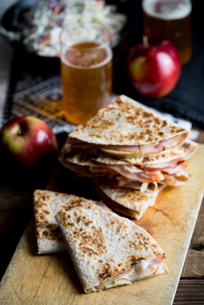Apple, Ham, Cheddar Quesadillas
