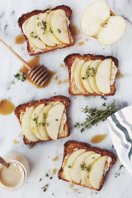 Apple & Tahini Toast with Honey & Thyme